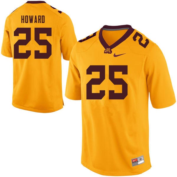 Men #25 Phillip Howard Minnesota Golden Gophers College Football Jerseys Sale-Gold