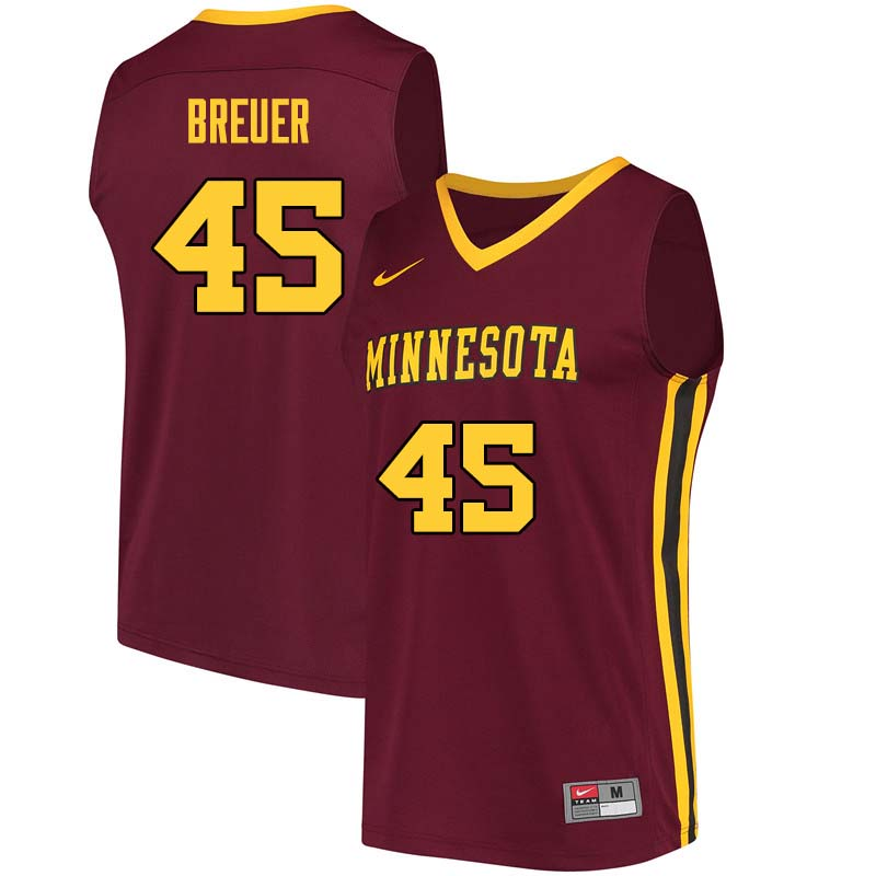 Men #45 Randy Breuer Minnesota Golden Gophers College Basketball Jerseys Sale-Maroon