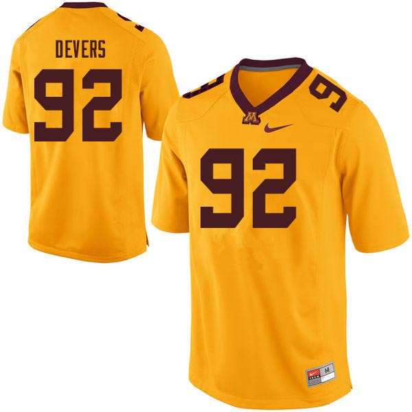 Men #92 Tai'yon Devers Minnesota Golden Gophers College Football Jerseys Sale-Gold