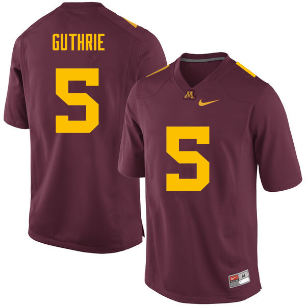 Men #5 Trenton Guthrie Minnesota Golden Gophers College Football Jerseys Sale-Maroon