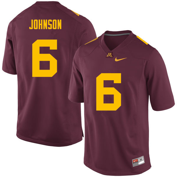 Men #6 Tyler Johnson Minnesota Golden Gophers College Football Jerseys Sale-Maroon