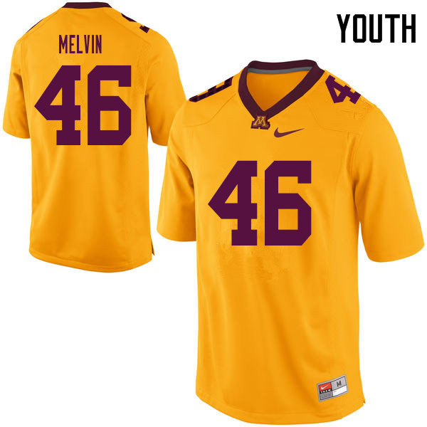 Youth #46 Alex Melvin Minnesota Golden Gophers College Football Jerseys Sale-Yellow