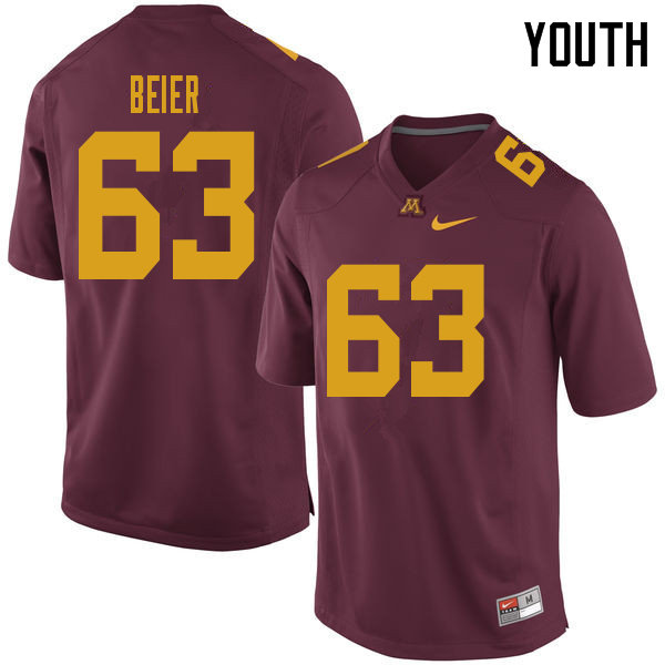 Youth #63 Austin Beier Minnesota Golden Gophers College Football Jerseys Sale-Maroon
