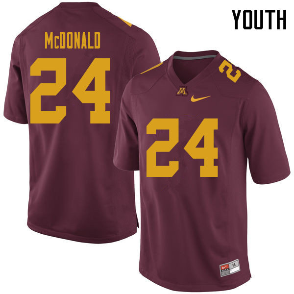 Youth #24 Bishop McDonald Minnesota Golden Gophers College Football Jerseys Sale-Maroon