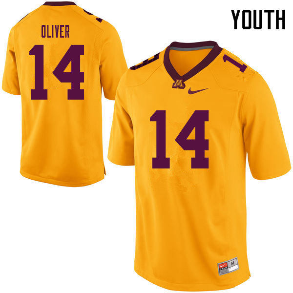 Youth #14 Braelen Oliver Minnesota Golden Gophers College Football Jerseys Sale-Yellow