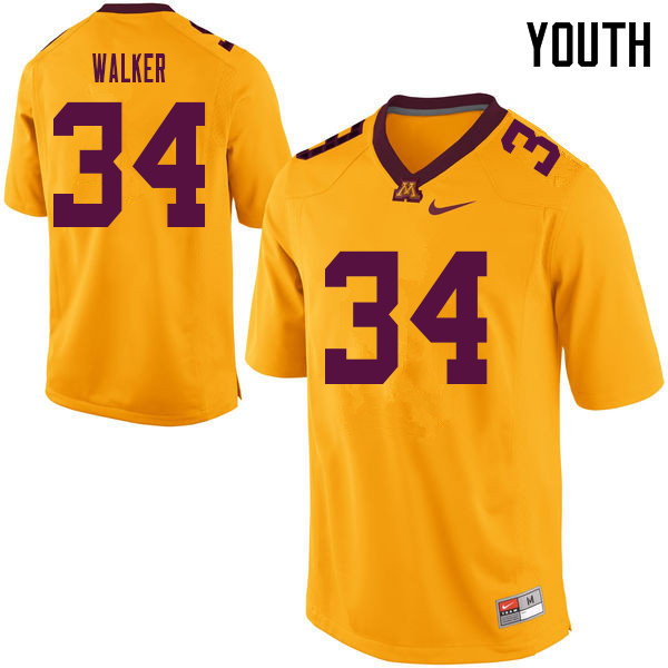 Youth #34 Brock Walker Minnesota Golden Gophers College Football Jerseys Sale-Yellow