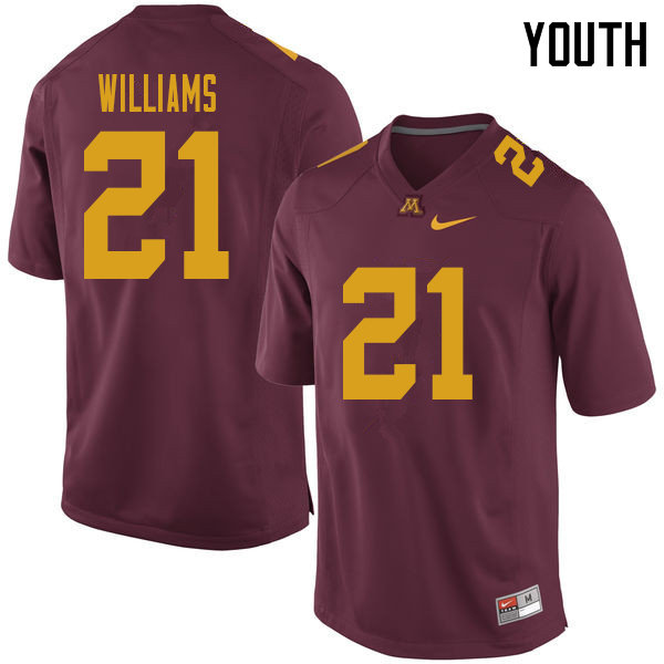 Youth #21 Bryce Williams Minnesota Golden Gophers College Football Jerseys Sale-Maroon