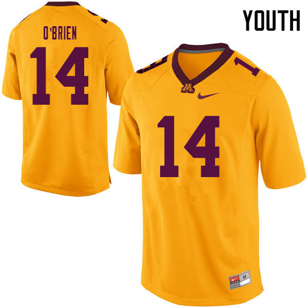 Youth #14 Casey O'Brien Minnesota Golden Gophers College Football Jerseys Sale-Yellow