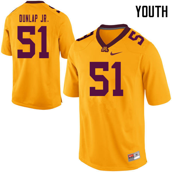 Youth #51 Curtis Dunlap Jr. Minnesota Golden Gophers College Football Jerseys Sale-Yellow