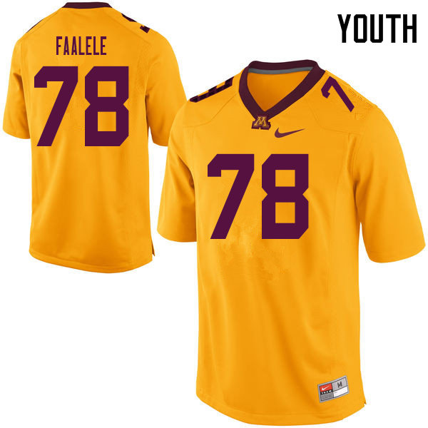 Youth #78 Daniel Faalele Minnesota Golden Gophers College Football Jerseys Sale-Yellow