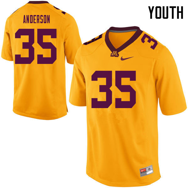 Youth #35 Danny Anderson Minnesota Golden Gophers College Football Jerseys Sale-Yellow