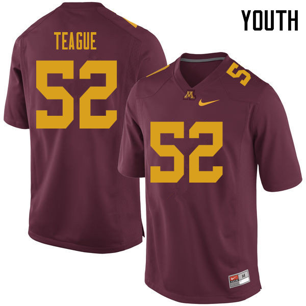 Youth #52 Elijah Teague Minnesota Golden Gophers College Football Jerseys Sale-Maroon
