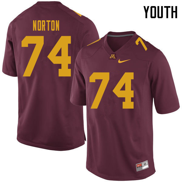 Youth #74 Grant Norton Minnesota Golden Gophers College Football Jerseys Sale-Maroon