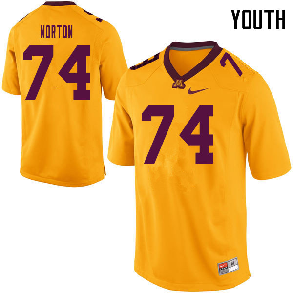 Youth #74 Grant Norton Minnesota Golden Gophers College Football Jerseys Sale-Yellow