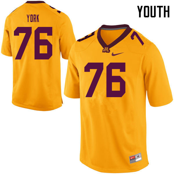 Youth #76 Jack York Minnesota Golden Gophers College Football Jerseys Sale-Yellow