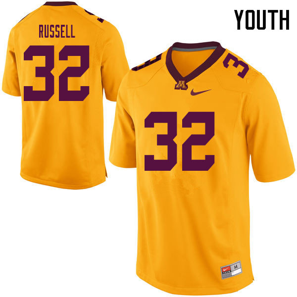 Youth #32 Joe Russell Minnesota Golden Gophers College Football Jerseys Sale-Yellow