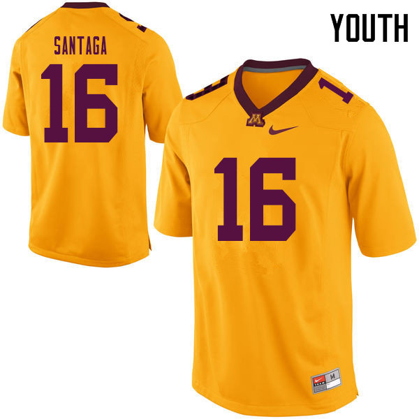 Youth #16 Jon Santaga Minnesota Golden Gophers College Football Jerseys Sale-Yellow