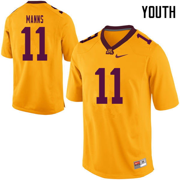 Youth #11 Jornell Manns Minnesota Golden Gophers College Football Jerseys Sale-Yellow