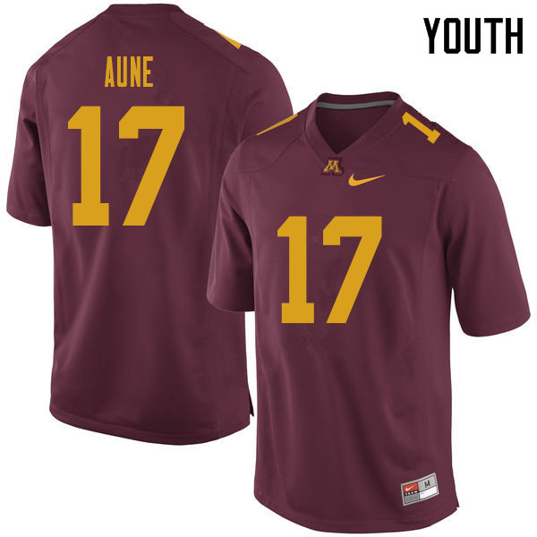 Youth #17 Josh Aune Minnesota Golden Gophers College Football Jerseys Sale-Maroon