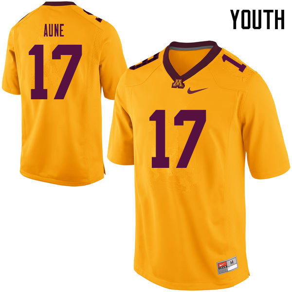 Youth #17 Josh Aune Minnesota Golden Gophers College Football Jerseys Sale-Yellow