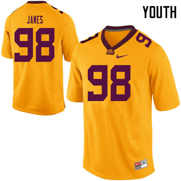 Youth #98 Max Janes Minnesota Golden Gophers College Football Jerseys Sale-Yellow