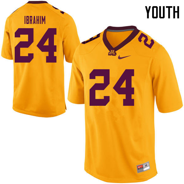 Youth #24 Mohamed Ibrahim Minnesota Golden Gophers College Football Jerseys Sale-Yellow
