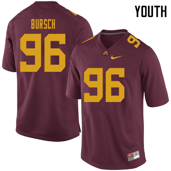 Youth #96 Nathan Bursch Minnesota Golden Gophers College Football Jerseys Sale-Maroon