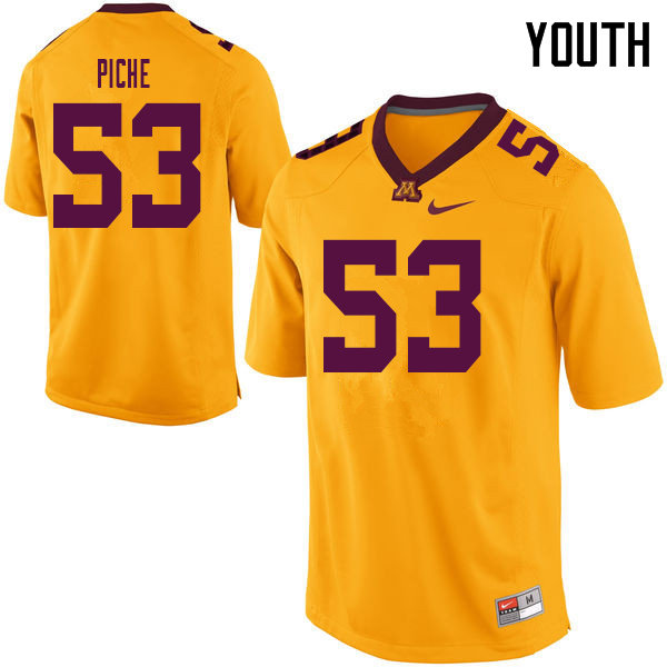 Youth #53 Owen Piche Minnesota Golden Gophers College Football Jerseys Sale-Yellow