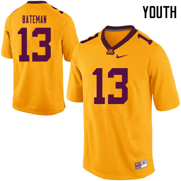 Youth #13 Rashod Bateman Minnesota Golden Gophers College Football Jerseys Sale-Yellow
