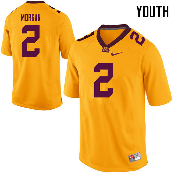 Youth #2 Tanner Morgan Minnesota Golden Gophers College Football Jerseys Sale-Yellow