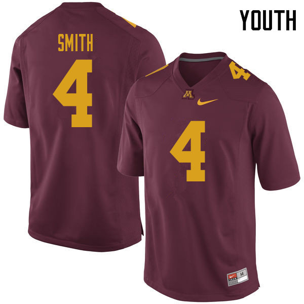 Youth #4 Terell Smith Minnesota Golden Gophers College Football Jerseys Sale-Maroon