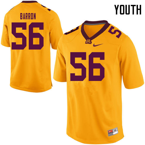 Youth #56 Ty Barron Minnesota Golden Gophers College Football Jerseys Sale-Yellow
