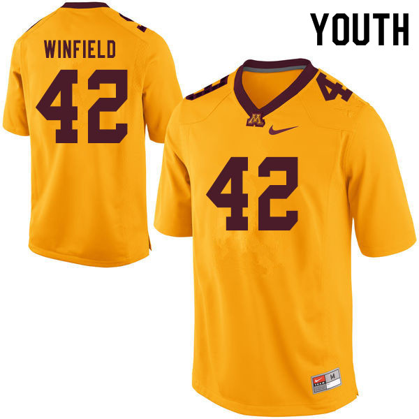 Youth #42 Austin Winfield Minnesota Golden Gophers College Football Jerseys Sale-Yellow