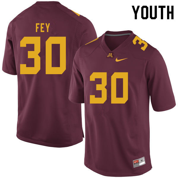Youth #30 Caden Fey Minnesota Golden Gophers College Football Jerseys Sale-Maroon