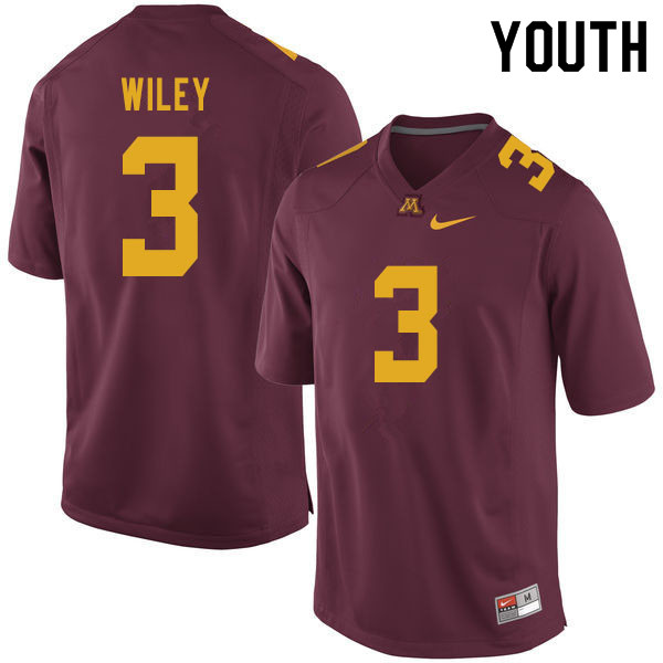 Youth #3 Cam Wiley Minnesota Golden Gophers College Football Jerseys Sale-Maroon