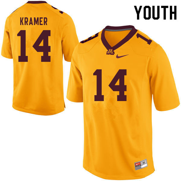Youth #14 Cole Kramer Minnesota Golden Gophers College Football Jerseys Sale-Yellow