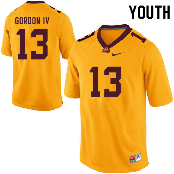 Youth #13 James Gordon IV Minnesota Golden Gophers College Football Jerseys Sale-Yellow