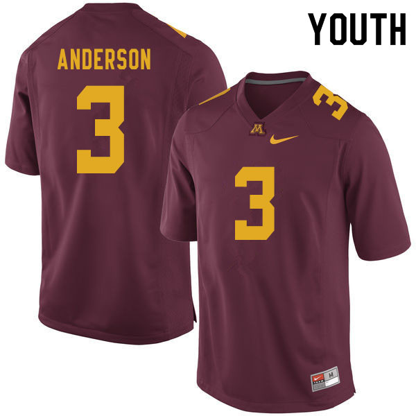 Youth #3 MJ Anderson Minnesota Golden Gophers College Football Jerseys Sale-Maroon