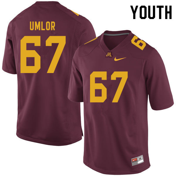 Youth #67 Nate Umlor Minnesota Golden Gophers College Football Jerseys Sale-Maroon