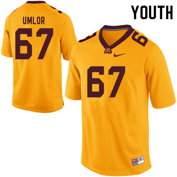 Youth #67 Nate Umlor Minnesota Golden Gophers College Football Jerseys Sale-Yellow