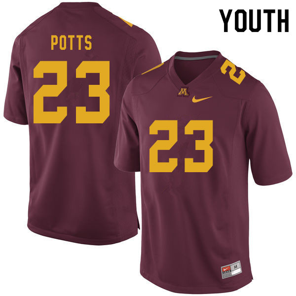 Youth #23 Treyson Potts Minnesota Golden Gophers College Football Jerseys Sale-Maroon