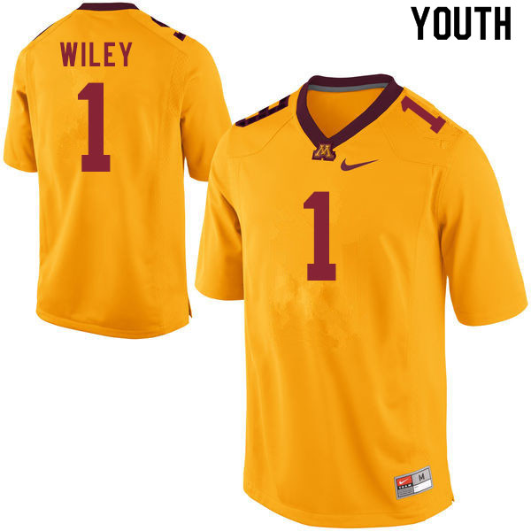Youth #1 Cam Wiley Minnesota Golden Gophers College Football Jerseys Sale-Gold