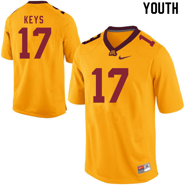 Youth #17 Gage Keys Minnesota Golden Gophers College Football Jerseys Sale-Gold