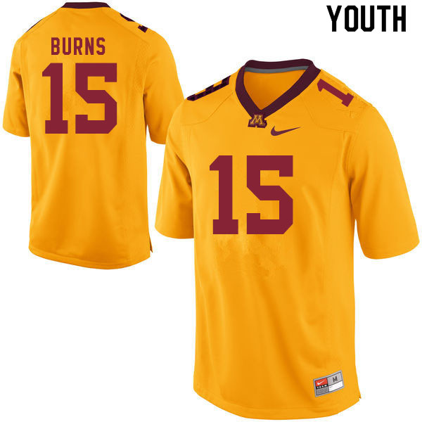 Youth #15 Jaqwondis Burns Minnesota Golden Gophers College Football Jerseys Sale-Gold