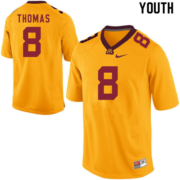 Youth #8 Ky Thomas Minnesota Golden Gophers College Football Jerseys Sale-Gold