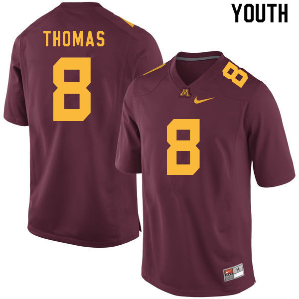 Youth #8 Ky Thomas Minnesota Golden Gophers College Football Jerseys Sale-Maroon
