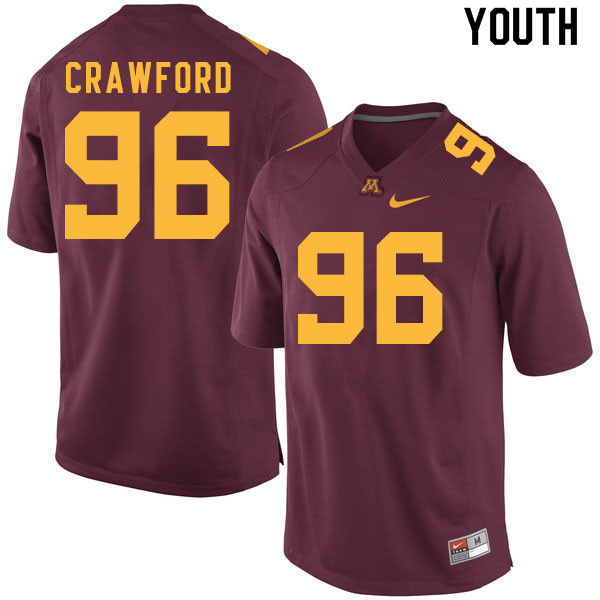 Youth #96 Mark Crawford Minnesota Golden Gophers College Football Jerseys Sale-Maroon