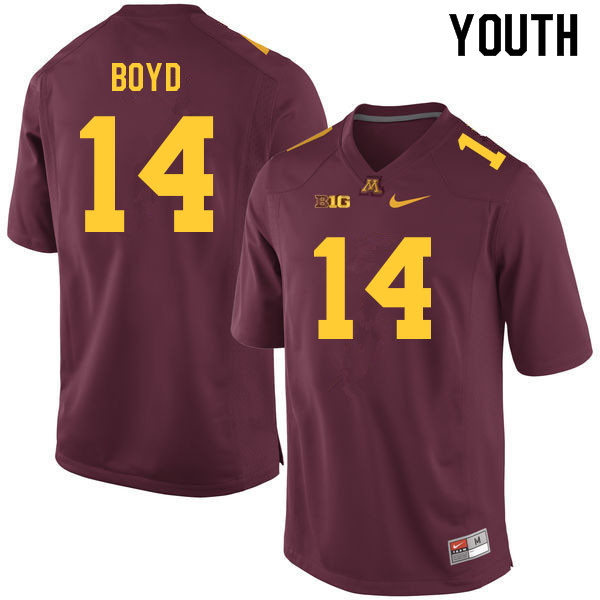 Youth #14 Brady Boyd Minnesota Golden Gophers College Football Jerseys Sale-Maroon