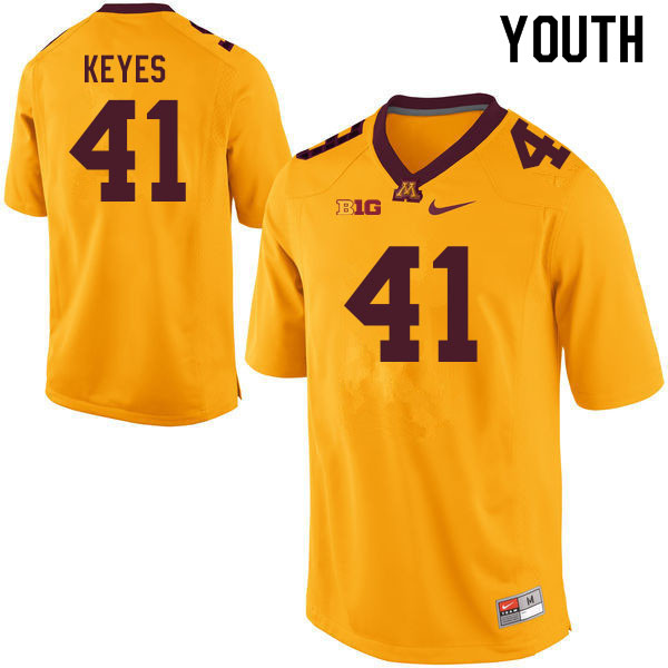 Youth #41 Connor Keyes Minnesota Golden Gophers College Football Jerseys Sale-Gold