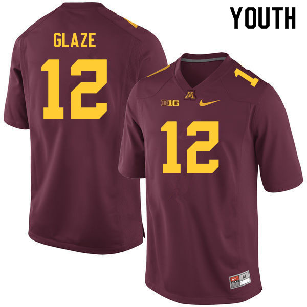 Youth #12 Jalen Glaze Minnesota Golden Gophers College Football Jerseys Sale-Maroon